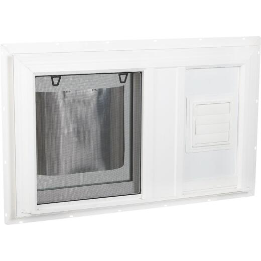 Interstate Model 5100 32 In. W. x 19 In. H. White Vinyl South Glass Pack Hopper Basement Window with Dryer Vent