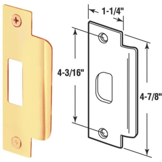 Defender Security Polished Brass 1-1/4 In. Lip Strike Plate