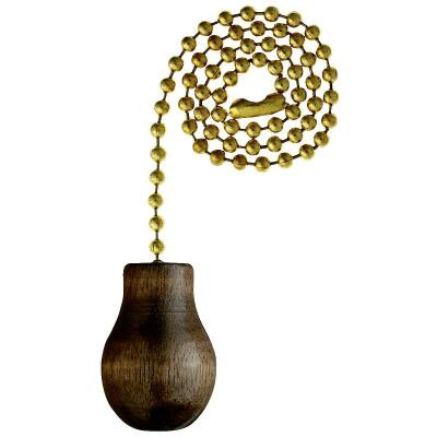 Westinghouse 12 In. Polished Brass Pull Chain with Walnut Knob Ornament