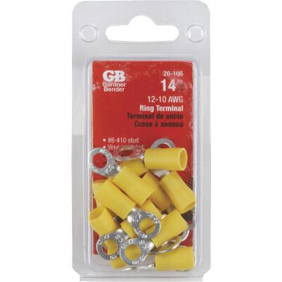 Gardner Bender 12 to 10 AWG #8 to #10 Stud Size Yellow Vinyl-Insulated Barrel Ring Terminal (14-Pack)