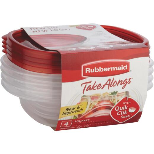 Rubbermaid TakeAlongs 2.9 C. Clear Rectangle Food Storage Container with Lids (4-Pack)
