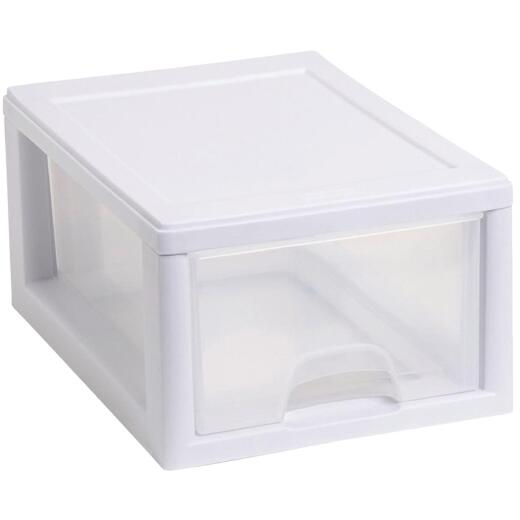 Sterilite 8 In. x 6 In. x 12 In. 6 Quart White Stackable Storage Drawer