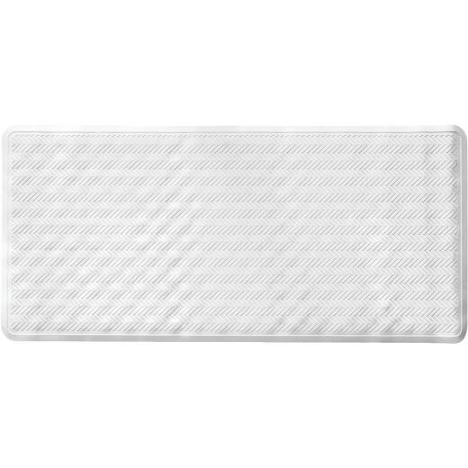 iDesign Chelsea 17 In. x 36 In. White Rubber Bath Mat