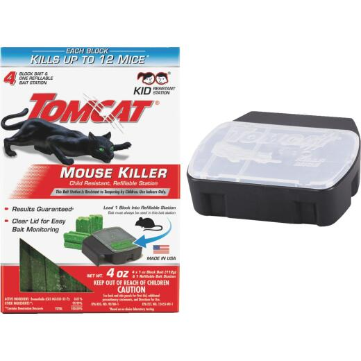 Tomcat Mouse Killer III Refillable Mouse Bait Station (4-Refill)