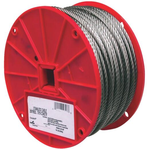 Campbell 1/4 In. x 250 Ft. Stainless Steel Wire Cable
