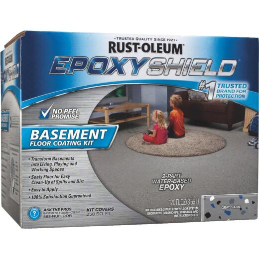 Rust-Oleum EPOXYSHIELD Satin Basement Floor Coating Kit, Gray, 120 Oz.