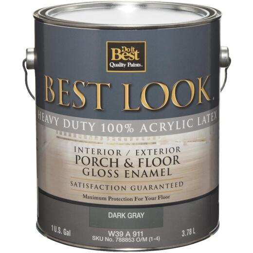 Best Look 1 Gal. Dark Gray Base Heavy-Duty Acrylic Latex Gloss Porch & Floor Enamel