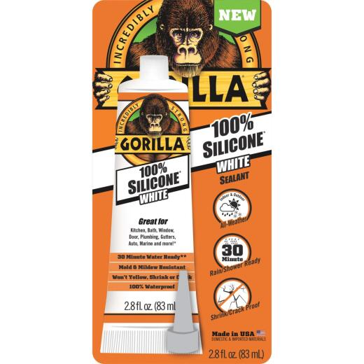 Gorilla 2.8 Oz. 100% Silicone Sealant, White