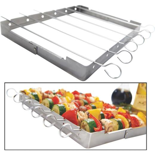 GrillPro Stainless Steel Kebab Grill Rack with Skewers