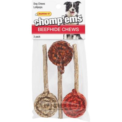 Westminster Pet Ruffin' it Chomp'ems Beefhide Lollipop Chew, 3-Pack