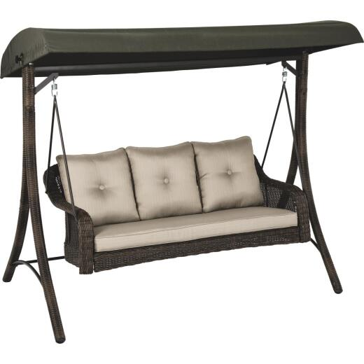 Outdoor Expressions Palermo 3-Person 87 In. W. x 72 In. H. x 49 In. D. Brown Wicker Patio Swing