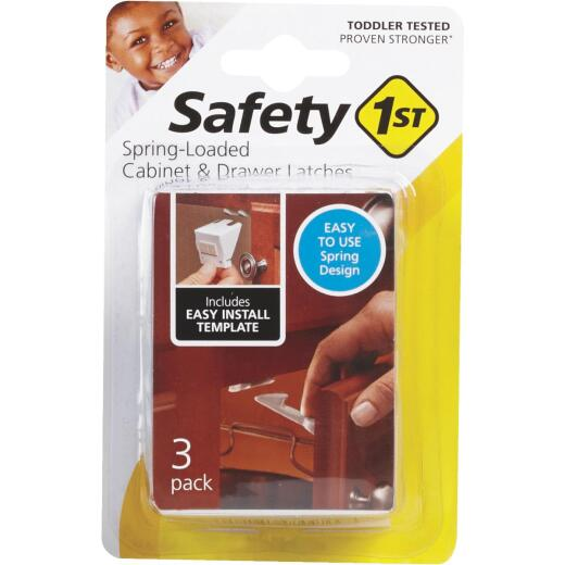 Safety 1st White Plastic Spring Loaded Cabinet & Drawer Latch (3-Count)