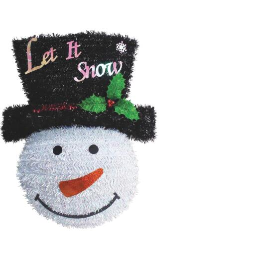 Youngcraft 18 In. White, Black, & Red Snowman Tinsel Wreath