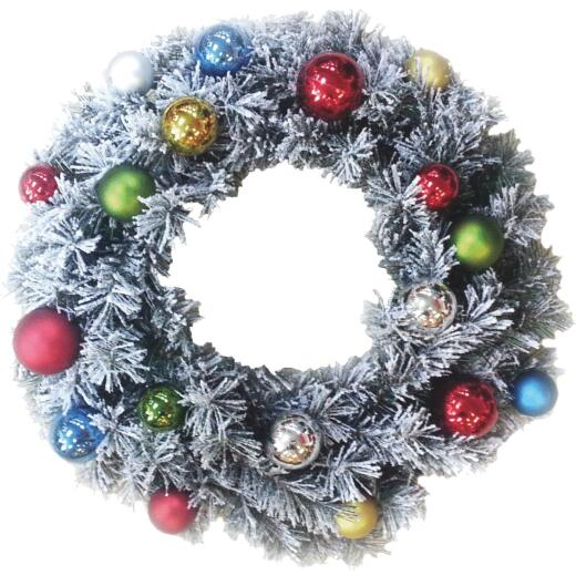 Sterling 24In. Flocked Pine Artificial Wreath