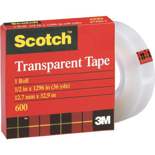 3M Scotch 1/2 In. x 36 Yd. Transparent Tape Refill